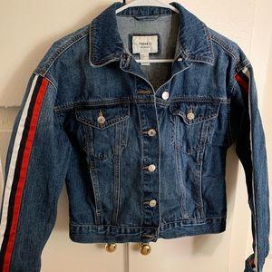 Forever 21 Stripes Sleeve Denim Jacket